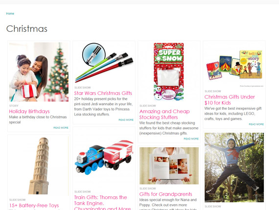 Parenting magazine publishes many Christmas gift guides.