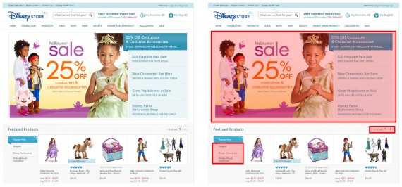 Disney Store's home page as visitors see it (left) and with search unfriendly content in red on the right.