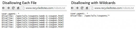 Example of a robots.txt file using disallow commands.