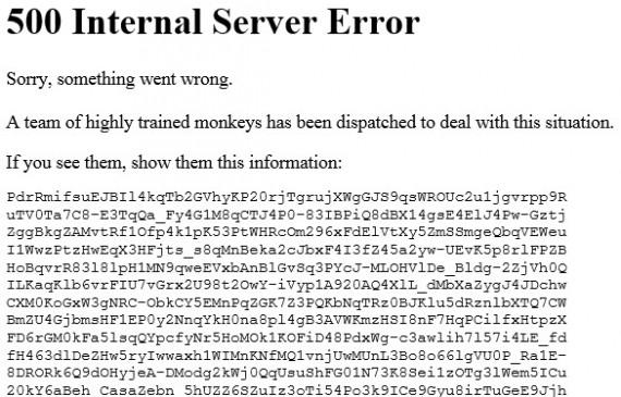 YouTube's humorous 500 internal server error message.