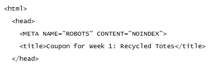 Example of a meta robots tag using the NOINDEX attribute.