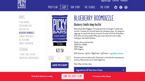 Picky Bars sells nutritional bars for athletes.