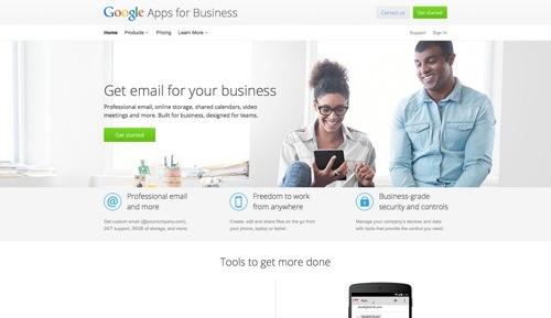 Google Apps for Work website