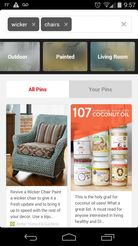 "Pinterest Guided Search for the term ""wicker chairs,"" using the mobile app."
