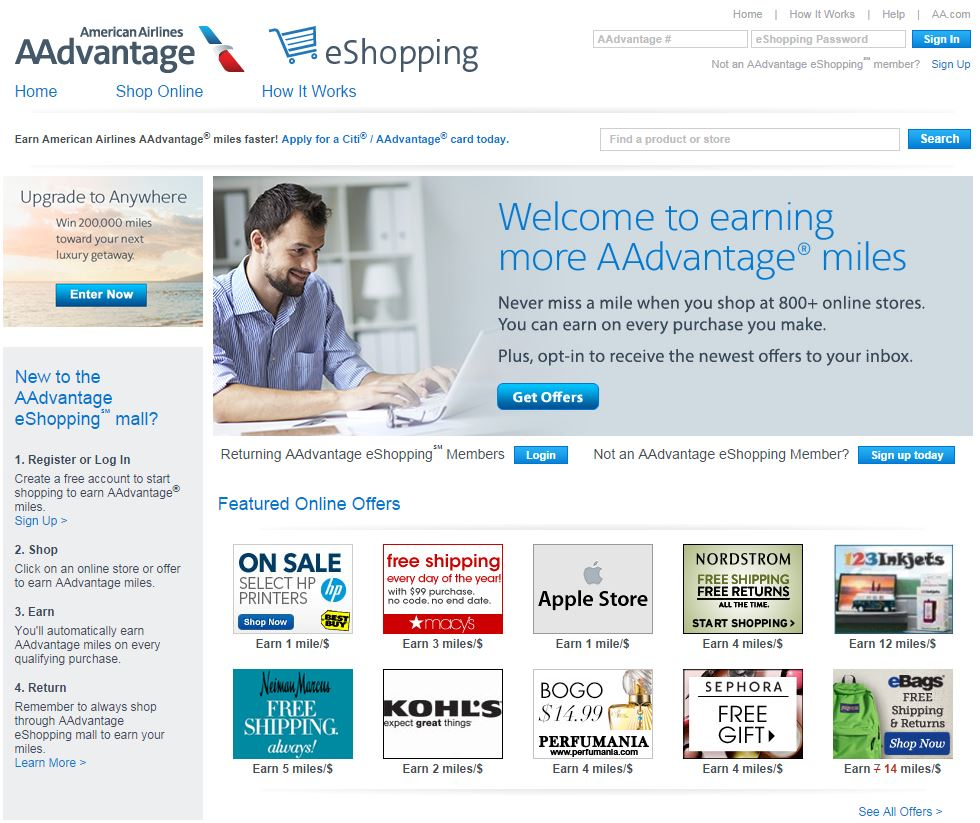 American Airlines AAdvantage eShopping is a loyalty site that awards miles per dollar spent at member retailers.