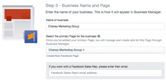 Insert your business name and Facebook page.