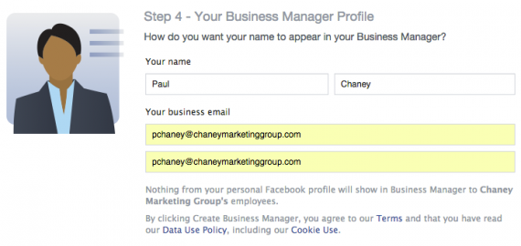Add your business name and email address.