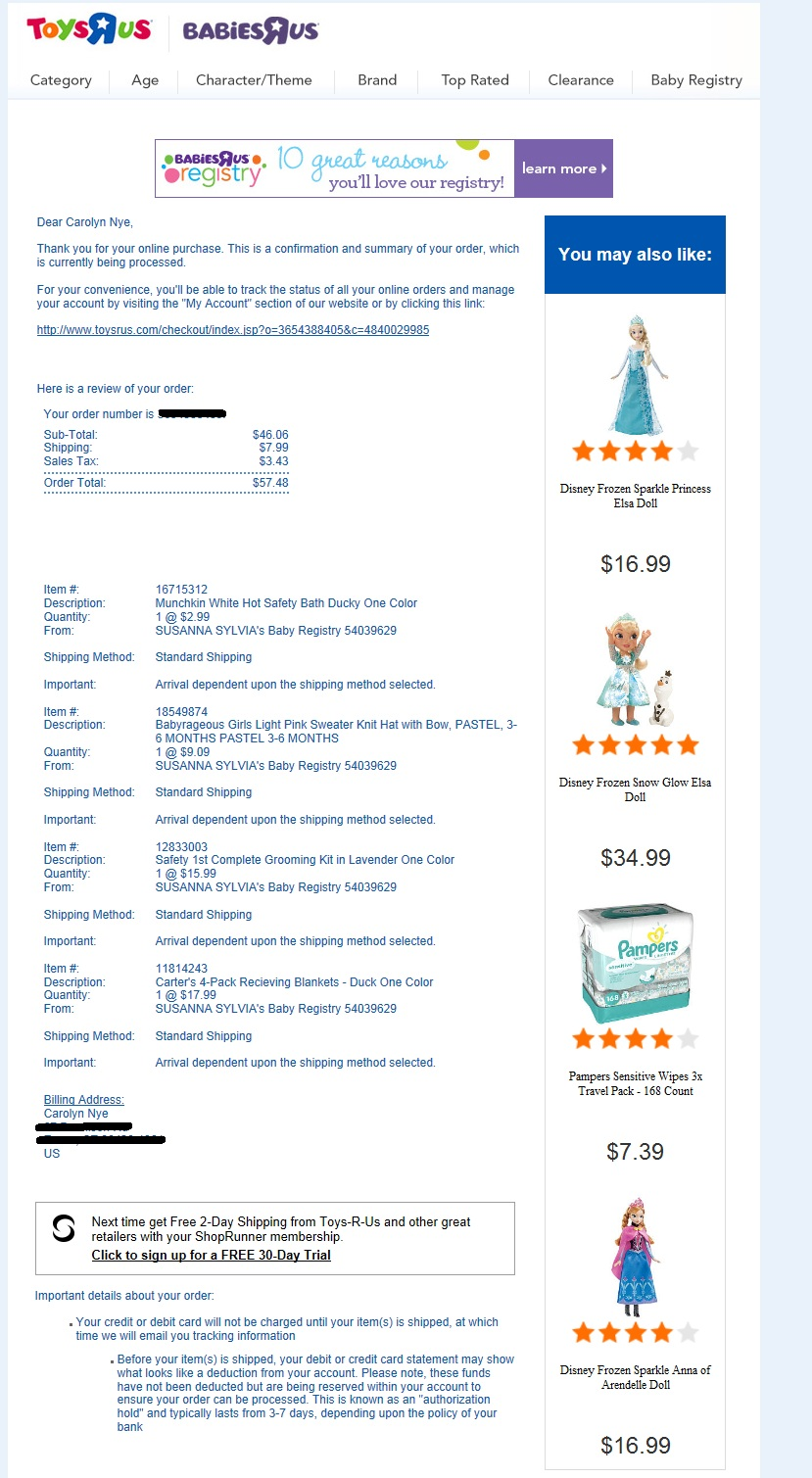 This Order Confirmation From Babies  Product Order Form Template Free