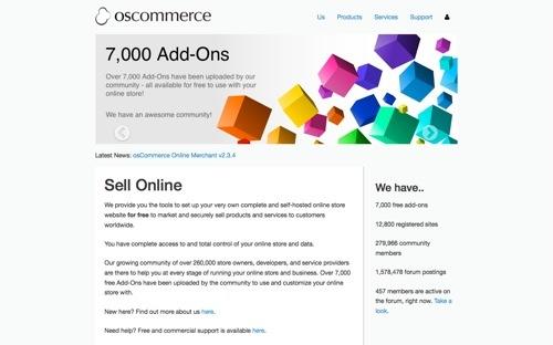 osCommerce website