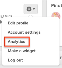 "Click the gear button and ""Analytics"" to view your data."