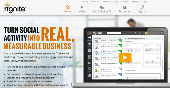 Rignite combines social media management, monitoring, analytics, and campaigns.