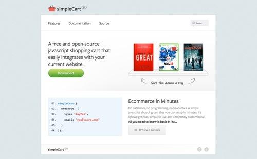 simpleCart website
