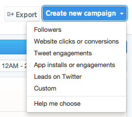 Twitter tailored audience create campaign.