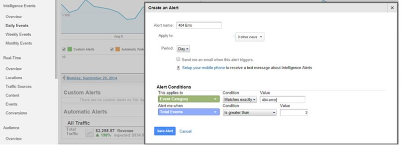 Create an Intelligence Alert that will automatically notify you whenever 404-error events are triggered on your site.