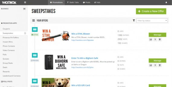 Look for the new offer button in the upper right corner of the Woobox dashboard.