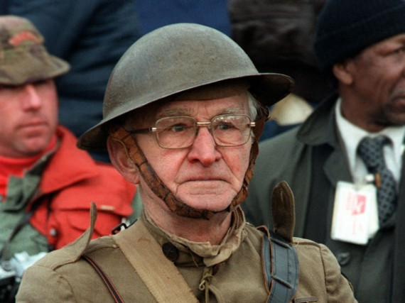 Joseph Ambrose, an 86-year-old World War I veteran, attends the dedication day parade for the Vietnam Veterans Memorial in 1982. Source Wikipedia.
