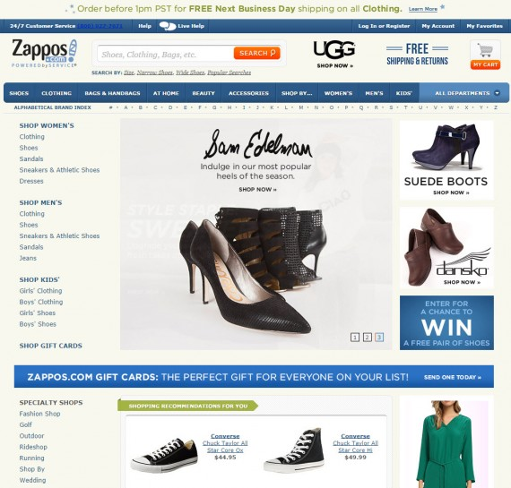 Zappos' home page.