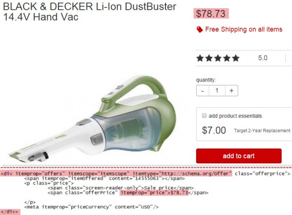 Target's product page with Price structured data highlighted.