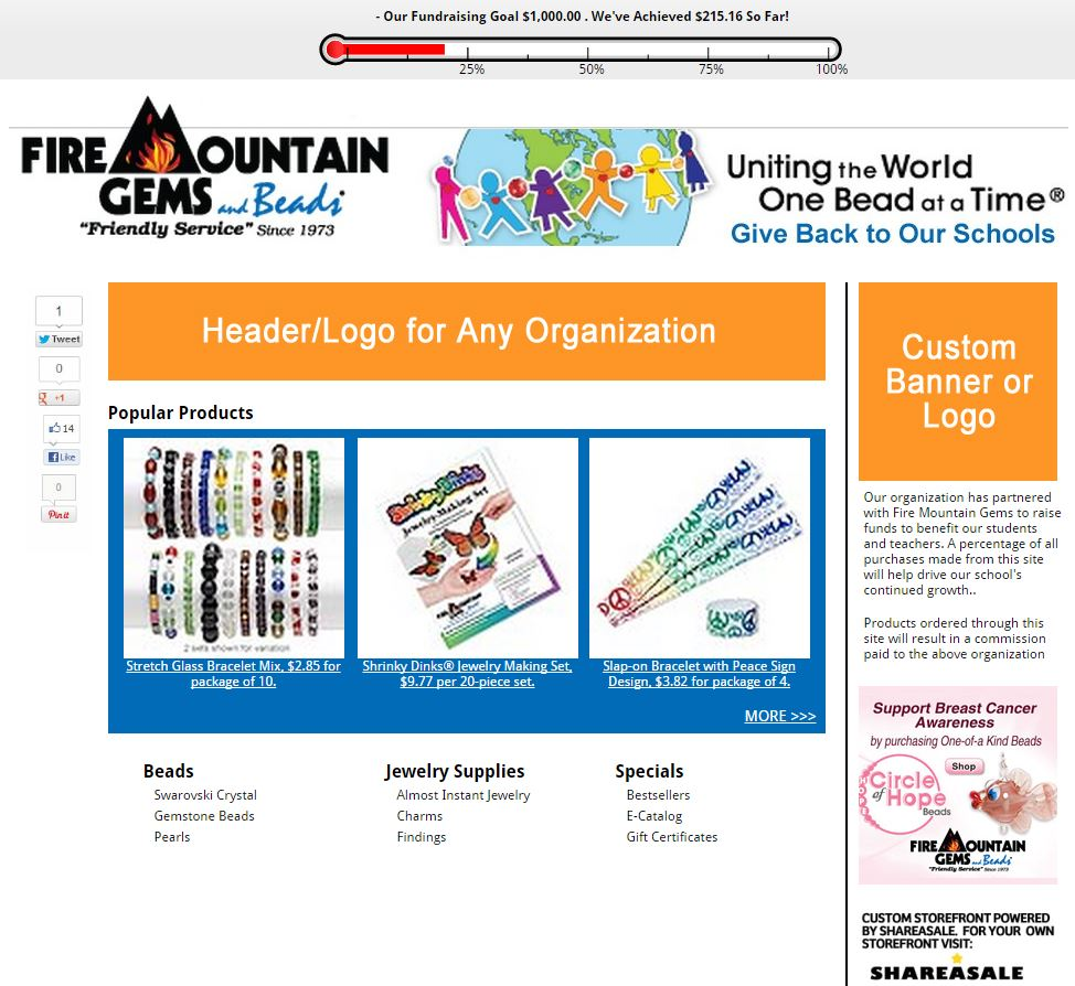 Fire Mountain Storefront for a hypothetical non-profit organization.