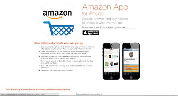 Amazon's mobile app.