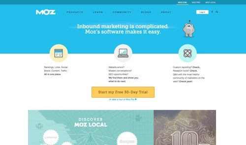 Moz Analytics website