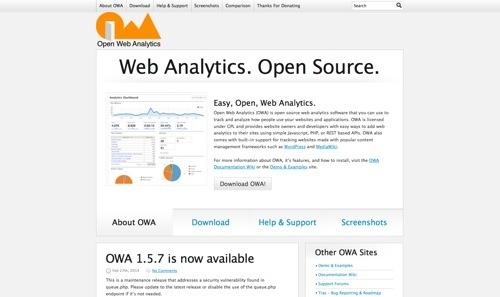 Open Web Analytics website