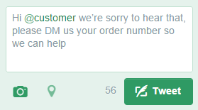 "This response, with ""Hi"" in front of the ""@customer"" handle, will appear in all followers' feeds."