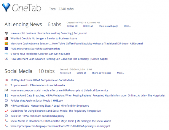 One Tab combines multiple tabs into an easy-to-follow list.