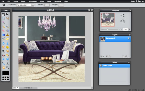 Pixlr is an easy-to-use image-editing tool, similar to Photoshop.