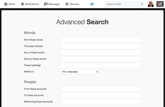 Twitter advanced search enables you to filter results by keyword, hashtag and @username.
