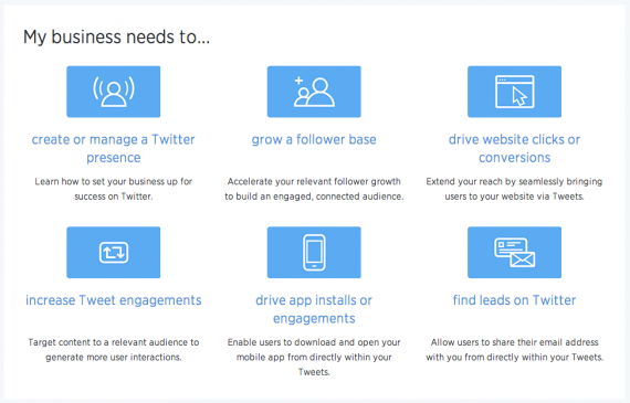 The Twitter for Business site is divided into six sections.
