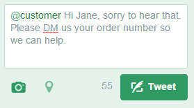 """This response will appear only in """"@customers"""" Twitter feed."""
