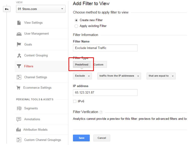 Create filters to exclude internal traffic.