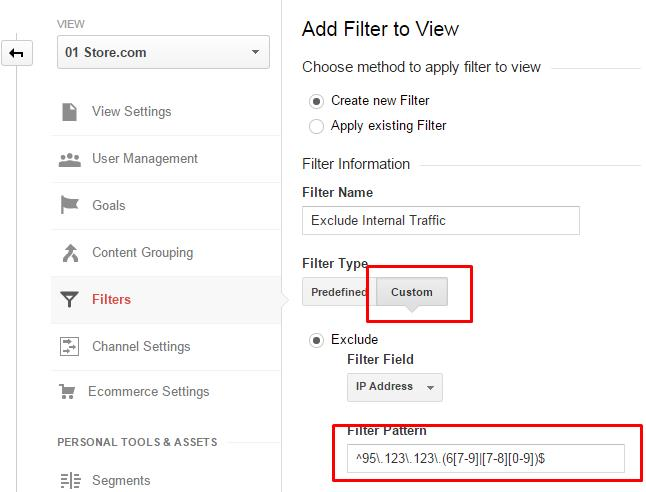 Create a filter to exclude a range of IP addresses by using regular expressions.