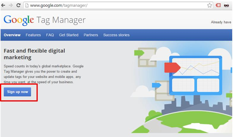 Using Google Tag Manager requires a separate account.