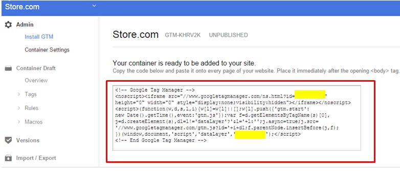 Place the GTM code on your website.