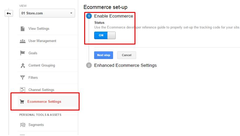 Enable ecommerce data collection in your Google Analytics account.