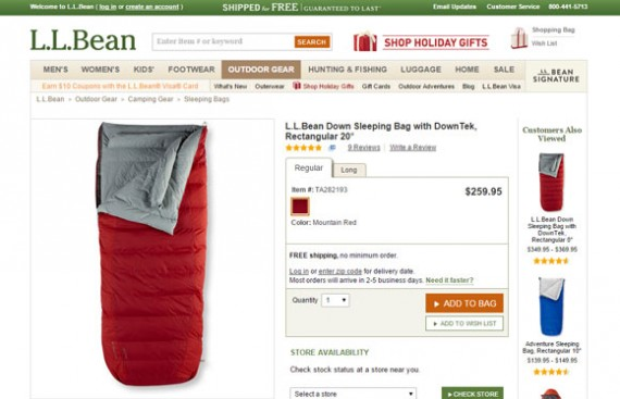 L.L.Bean is an example of a retail with excellent product photography.