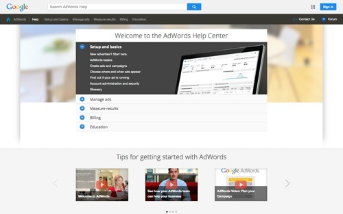 AdWords Help Center website