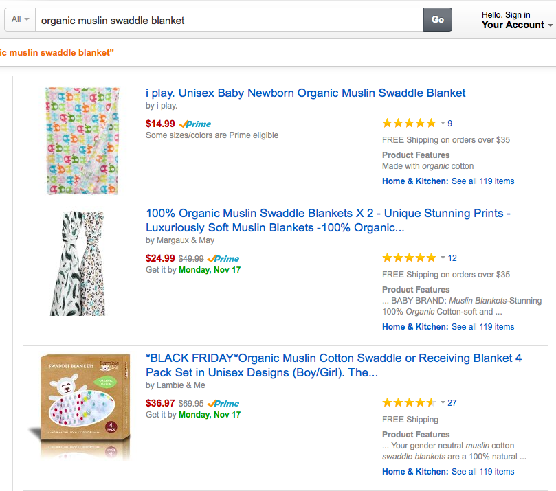 "Amazon's search results for ""organic muslin swaddle blanket""."