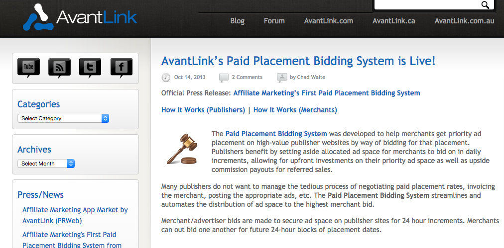 AvantLink's banner ad marketplace launched in 2014.