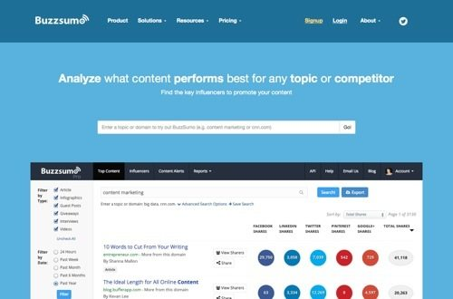 Buzzsumo website