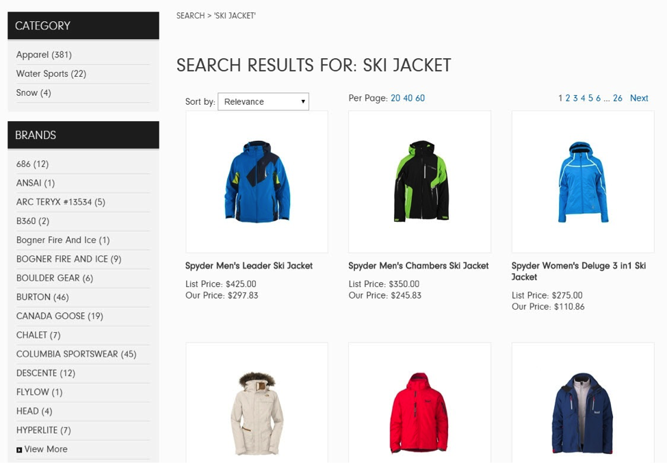 Sun & Ski's search results put more focus on brands than price. Note that without the filter, the shopper would be left to navigate through more than 380 products. (Screenshot from sunandski.com