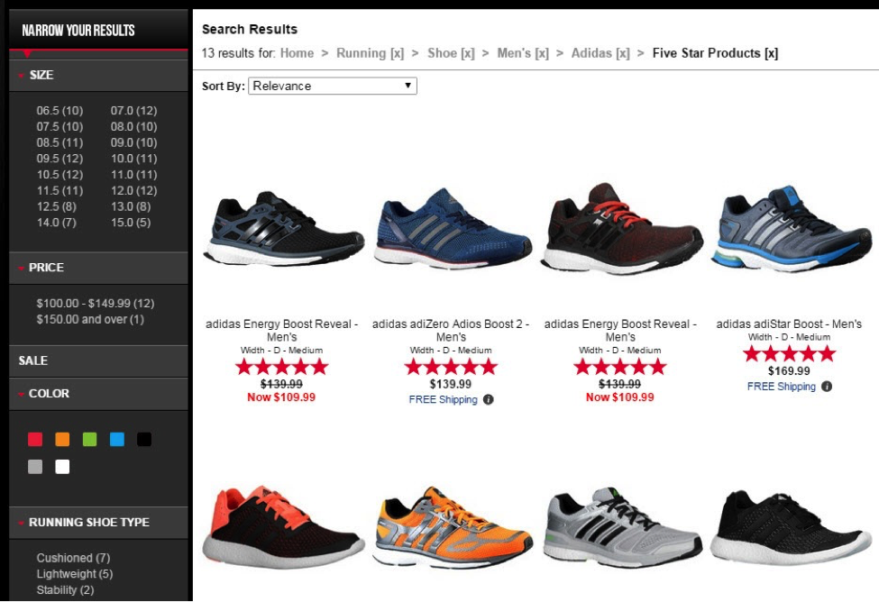 Footlocker.com takes the filtering a step further by displaying breadcrumb navigation. Don't like one of the filters? Click the X to delete it.