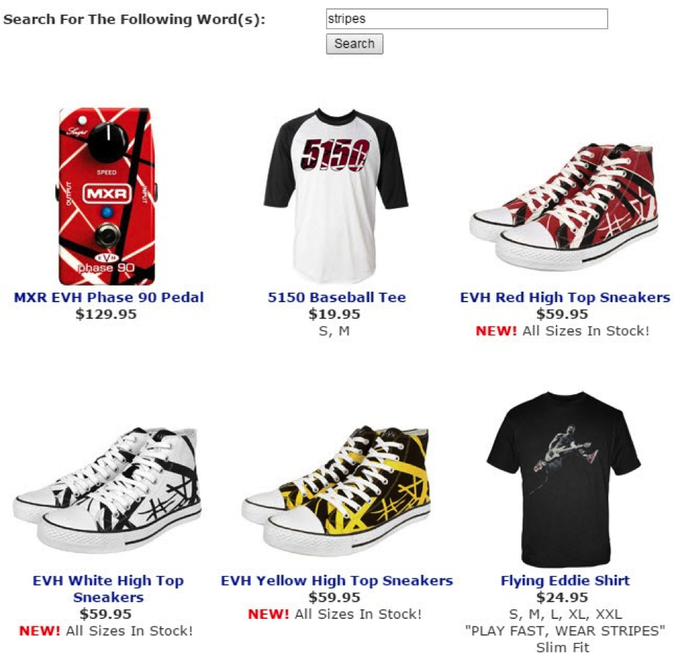 On this search page, shoppers can see which sizes of shirts are available. This saves a click if one's size is not available. Source: VanHalenStore.com.