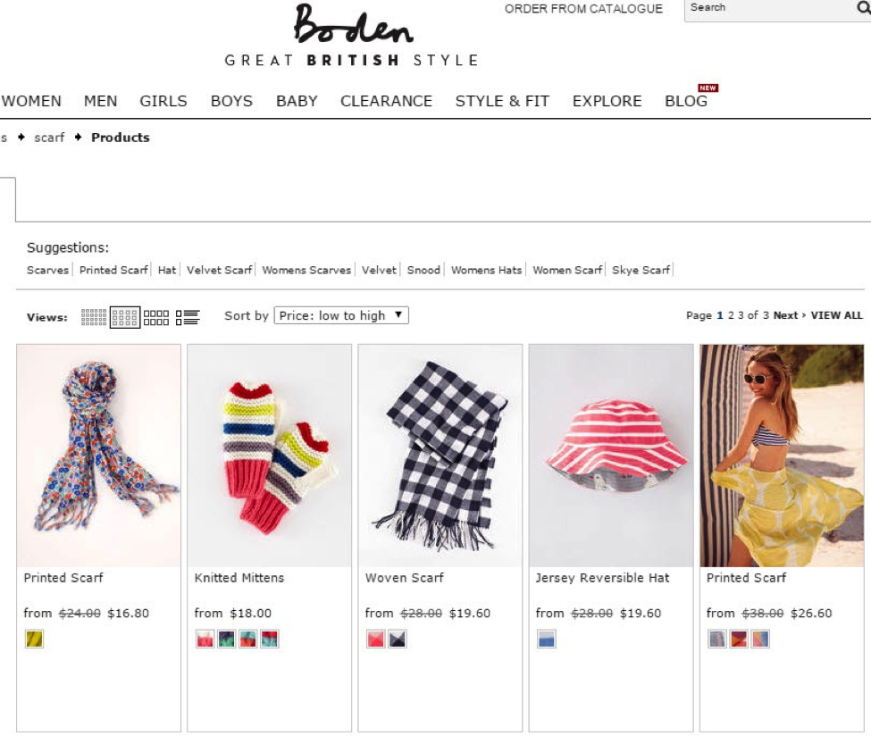 "After searching on the term ""scarf"", users are prompted with links to specific styles of scarves, as well as hats and other related items. Source: Bodenusa.com"