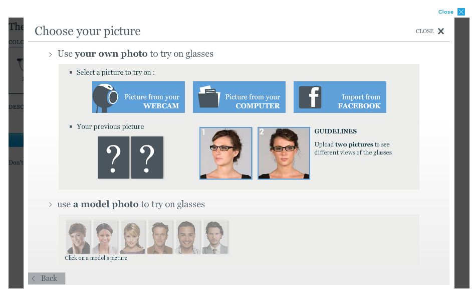 "Warby Parker's ""virtual try-on"" lets shoppers take a photo of themselves using their computer's webcam."