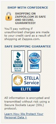 Zappos, the shoe retailer, displays the Stella Service seal, in addition to other trust indicators.