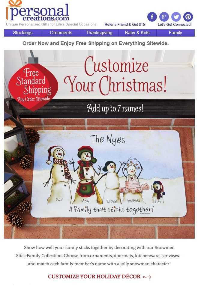 Personalized Creations dynamically adds my family's name to the welcome mat offer — a highly personalized email.
