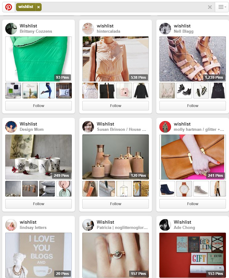 Thousands of Pinterest users now use the social network to maintain their wish lists.